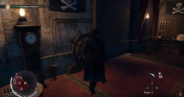 Die geheime Kammer ist gefüllt mit Erinnerungstücken aus Black Flag und von Edward Kenway