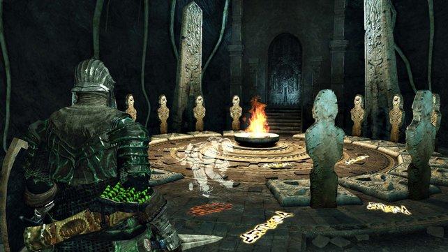Die leuchtenden Zeichen am Boden zeigen an, dass ihr an dieser Stelle andere Spiele um Hilfe bitten könnt.