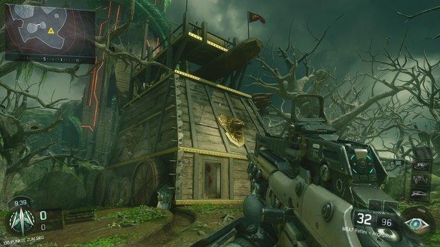 Vor der Burg können sich Scharfschützen in diesem Belagerungsturm zurückziehen.