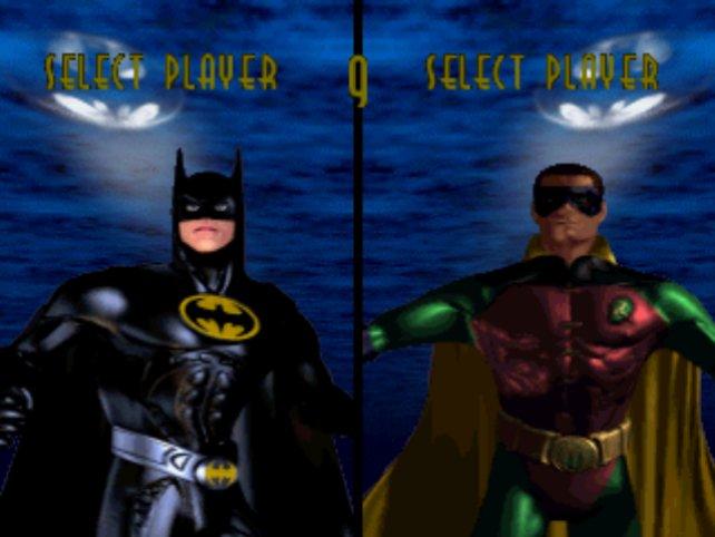 Hübsch hässlich: Die Charakterauswahl im Prügelspiel Batman Forever für die PlayStation.