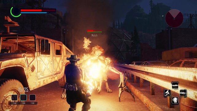 Magische Artefakte und Schusswaffen haben verschiedene Projektiltypen, Schlagwaffen ein Kombometer.