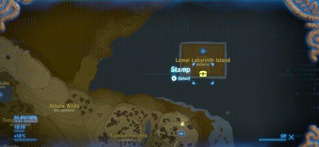 Der Fundort des Teleport-Medaillons auf der Karte markiert.