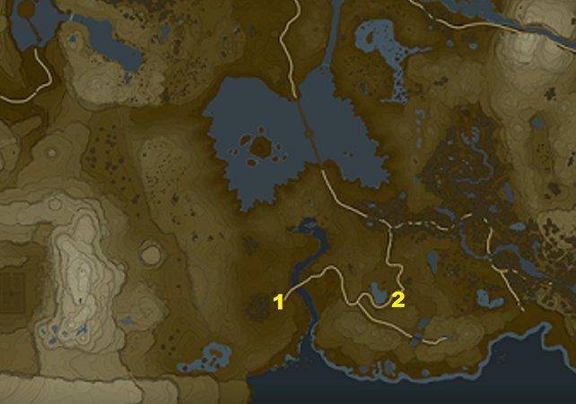 Beim Turm des Sees findet ihr nur zwei Nebenquests - das sind ihre Standorte.
