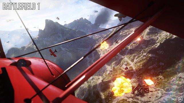 Luftkampf über den Alpen.