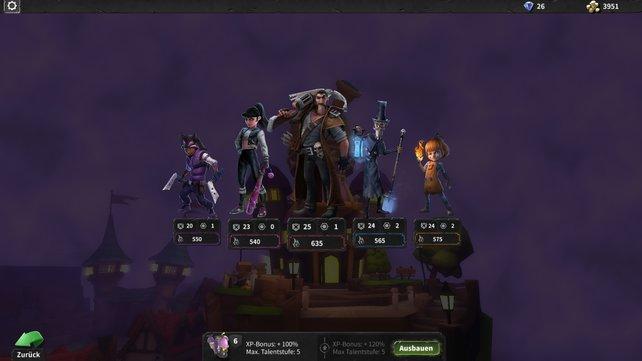 Im Mittelpunkt von Hero Defense - Haunted Island stehen die fünf Helden.