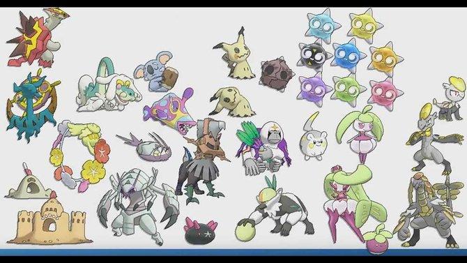 Hier eine größere Auswahl aus einigen bekannten und einigen bisher unbekannten Pokémon. Neu dabei ist etwa die Sandburg unten links.