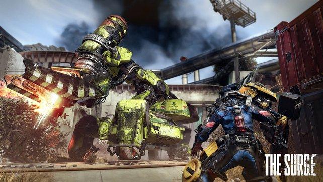Bisher skizzierte Bosskämpfe zeigen den Helden stets im Duell mit bildschirmfüllenden Wartungsrobotern.
