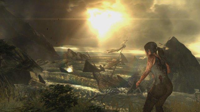 Auch in Tomb Raider überstrahlt die Sonne Teile des Wolkenhimmels.