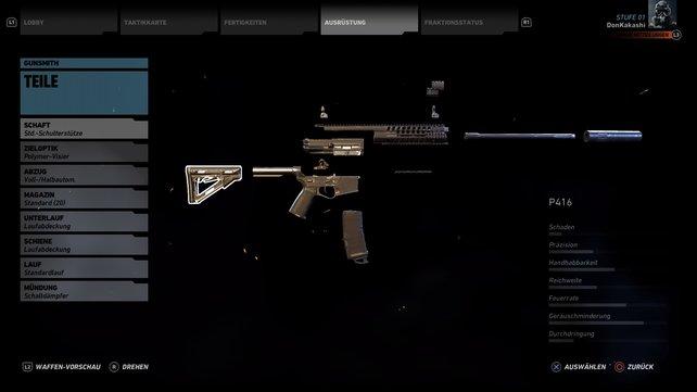 Jede Waffenkategorie besitzt andere Modifikationen.