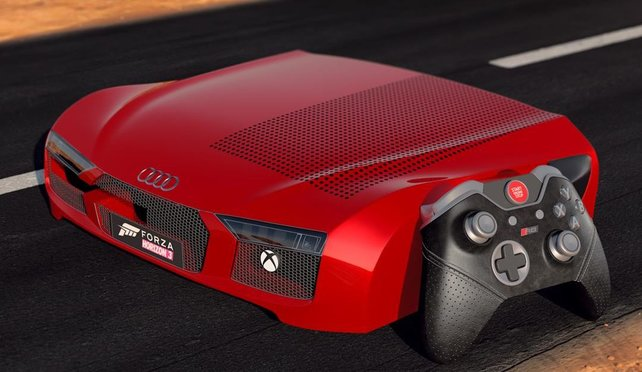 """Nicht dass die Xbox One generell eine Schönheit wäre, doch dieses Sammlerstück """"Xbox One Audi R8"""" dürfte vermutlich nur wenigen gefallen."""