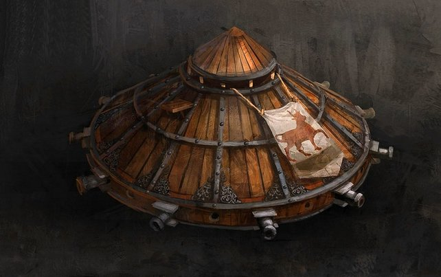 Da Vinci erfand auch in der Realität einen Panzer. Dieser war allerdings derart schwer, dass er nahezu bewegungsunfähig war.