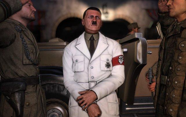 Hitler ist mit seinem weißen Jackett ein leichtes Ziel für euch.