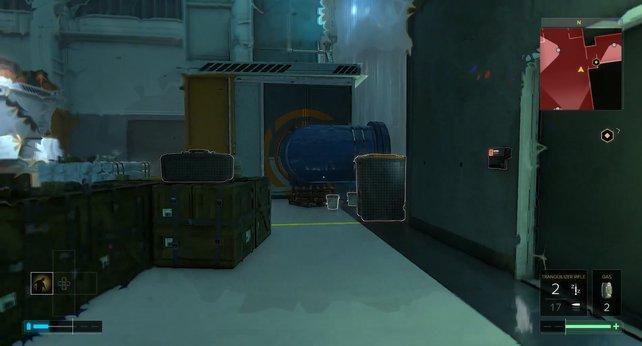 Einmal mehr zeigt die Zielmarkierung nicht den besten Weg, um durch die Mission zu kommen. Das blaue Rohr sollte euer Ziel sein.