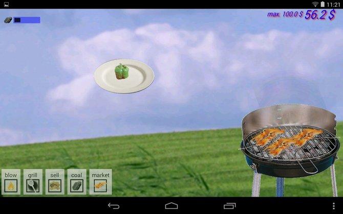 Beim Grill Simulator ist der Name Programm. Ihr legt Fleisch, Fisch und Gemüse auf den Rost.