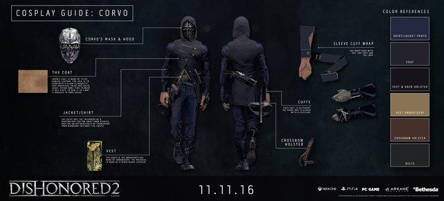 So kleidet ihr euch als Corvo laut den Entwicklern. Für Cosplayer eine super Anleitung, alle anderen werden schon bei der ersten Naht verzweifeln.