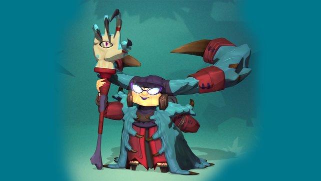 Beschwörerin Griselma zaubert magische Hände als Verteidigungsanlagen herbei.