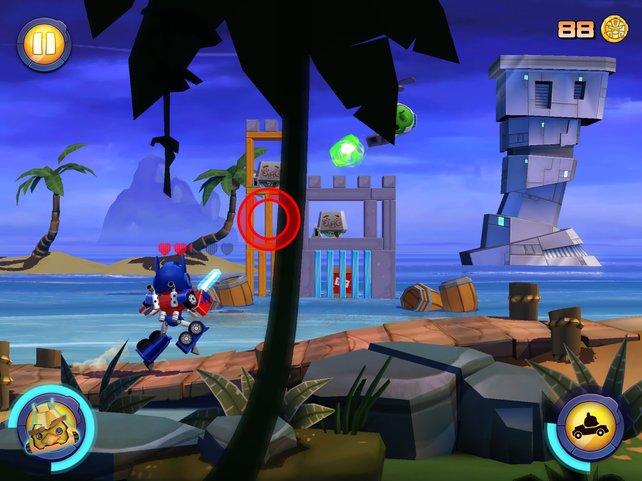 Simpel und witzig: Der Transformer läuft automatisch, ihr visiert nur Feinde an.