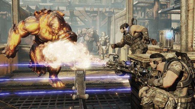 In Gears of War 3 geht es um starke Männer mit großen Wummen .