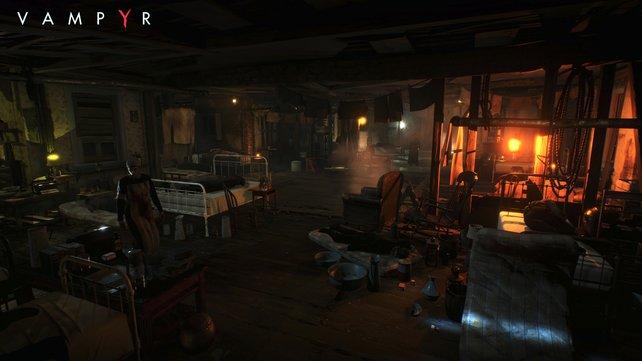 Finster, dreckig, bedrohlich: Die Atmosphäre der dahin siechenden Themsemetropole wird dank Unreal Engine 4 prima eingefangen.