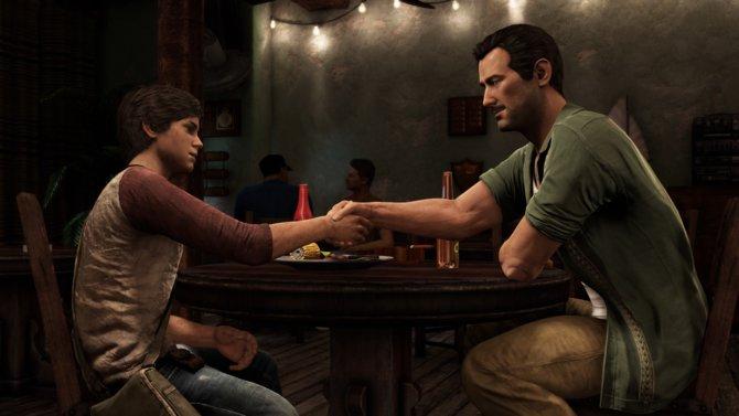 Freunde fürs Leben. Der junge Nathan Drake trifft zum ersten Mal auf Sully.