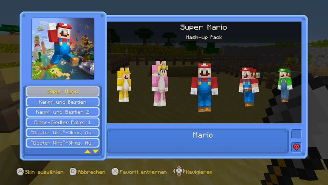Minecraft auf Wii U: Dank des exklusiven Mash-Up Packs bekommt ihr eine tolle Auswahl an Kostümen aus dem Nintendo-Universum.