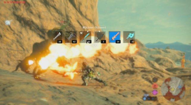 Im Kampf könnt ihr zwischen vielen Waffen schnell wechseln.