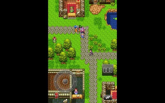 Das klassische Fantasy-Rollenspiel spielt ihr im Hochformat mittels virtuellem Steuerkreuz.