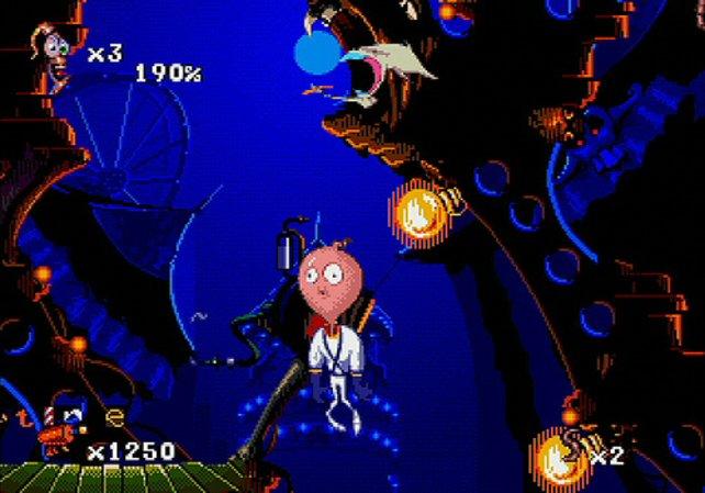 Etwas unorthodox: Auf Tastendruck bläst Earthworm Jim seinen Kopf auf und schwebt in höhere Gefilde.