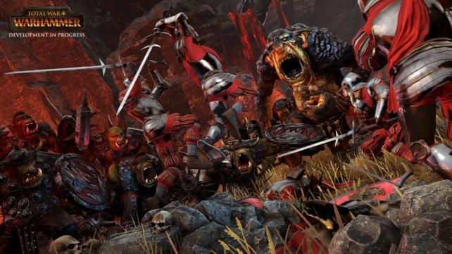 Die Soldaten des Imperiums kämpfen tapfer gegen Orks und Trolle.