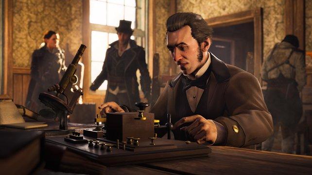 Ihr könnt mit bekannten historischen Personen, zum Beispiel Alexander Graham Bell, interagieren.