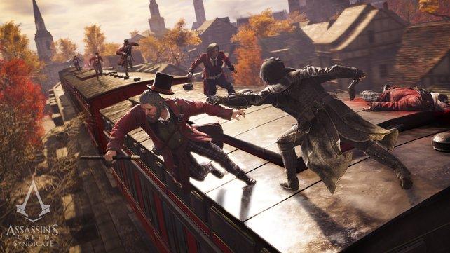 Jacob wirft einen verfeindeten Templer im hohen Bogen von einem Zug. Das wird eine üble Landung.