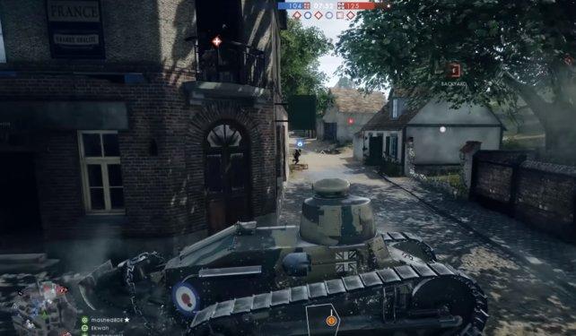 Ein leichter Panzer im Gefecht.