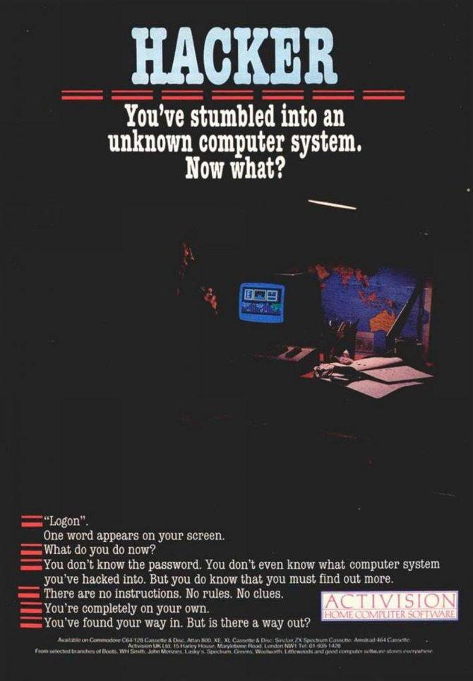 Das erste Spiel in dem es wirklich um Hacker ging. Hacker von 1985.
