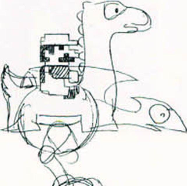 Eine von vielen Skizzen, die ein schwärmerischer Miyamoto irgendwann in der zweiten Hälfte der Achtziger in seinem Büro liegenließ. Er scheint sich noch nicht ganz sicher zu sein, ob Mario auf einem Pferd, einem Vogel oder Dinosaurier aufsitzen soll.