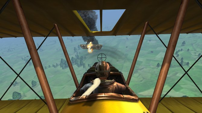 Der feindliche Pilot geht runter.