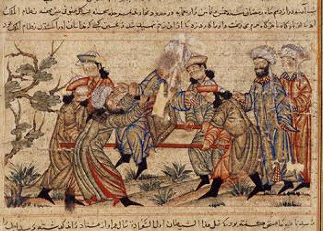 Die Zeichnung einer Ermordung durch die Hashishin.