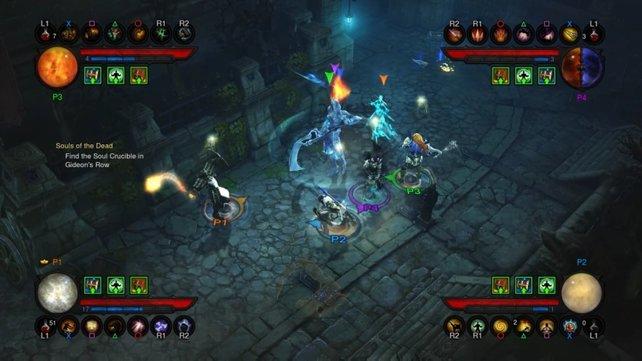 Mit bis zu drei Freunden könnt ihr Diablo 3 von der Couch aus spielen.