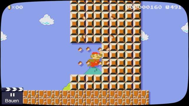 Mit dem 8-Bit Mario-Amiibo zum 30-jährigen Jubiläum könnt ihr als Riesen-Mario einfach durch die Blöcke durchmarschieren.