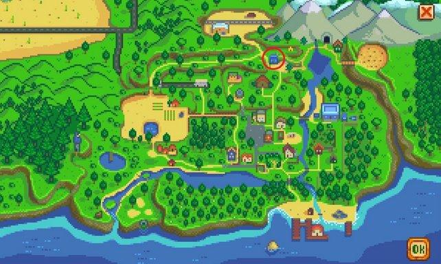 In dem kleinen blauen Häuschen wohnt Robin - hier gebt ihr die Axt ab.
