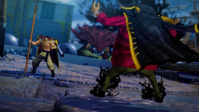 Whitebeard und sein Rivale Blackbeard treffen sich in der Arena.