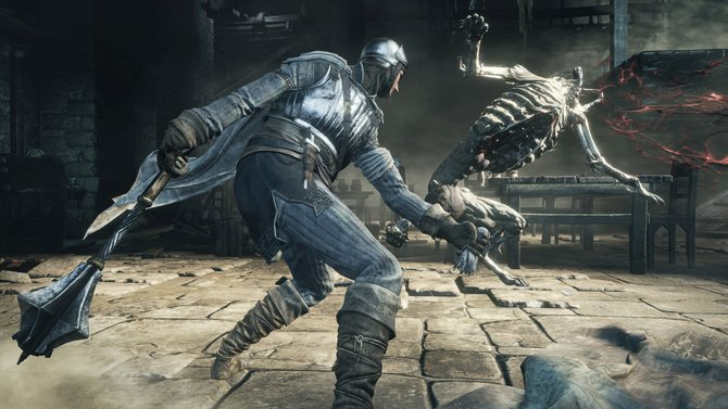 In Dark Souls 3 spritzt - wie in Bloodborne - das Blut in wilden Fontänen aus dem Gegner.