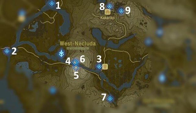 Die Karte mit den Schreinen der Akkala-Region.