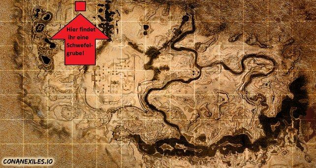 An diesem Ort in Conan Exiles könnt ihr reichlich Schwefel finden. (Quelle: conanexiles.io)