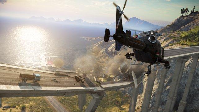 Mit den Helikoptern habt ihr reichlich Feuerkraft.