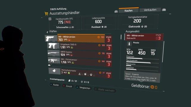 Beim Ausstattungshändler könnt ihr neue Waffen kaufen oder alte verkaufen.
