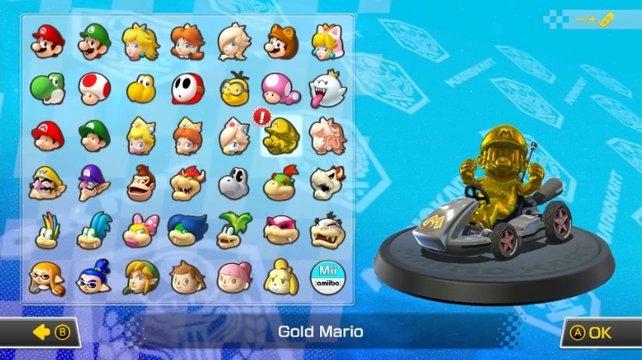 Ein geheimer Charakter in Mario Kart 8 - Deluxe: Gold Mario.