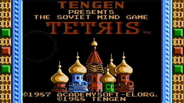 """Die Tengen-Version trägt den Untertitel """"The Soviet Mind Game"""". Die russische Herkunft von Tetris ist von Anfang an ein Werbeknüller."""