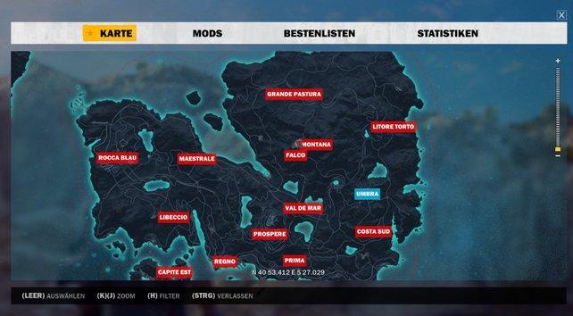 Die größte Region findet ihr im Norden der Karte.