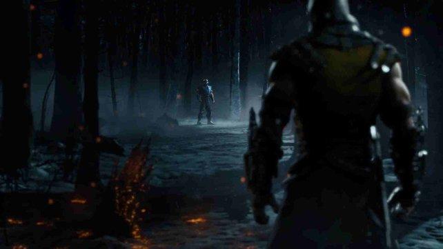 Mortal Kombat X verspricht wieder brutale Kämpfe. Hier seht ihr Sub Zero im Kampf gegen Scorpion.