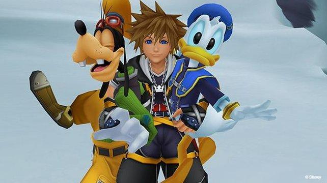 Sora, Goofy und Donald sind unzertrennlich